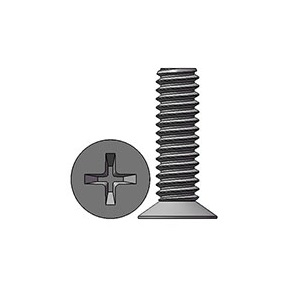 M2 X 7 mm  Flat Head 110° Phillips Machine Screw Steel Nickel Plated