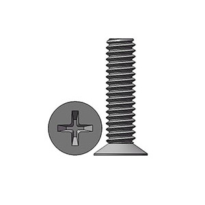 M2 X 8 mm  Flat Head 110° Phillips Machine Screw Steel Nickel Plated