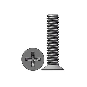 M2 X 9 mm  Flat Head 110° Phillips Machine Screw Steel Nickel Plated