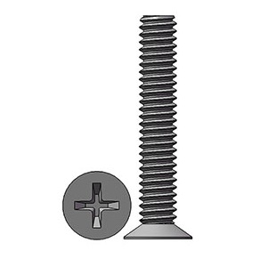 M2 X 12 mm  Flat Head 110° Phillips Machine Screw Steel Nickel Plated